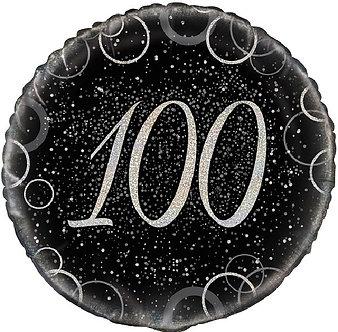 18IN BLACK PRISMATIC 100TH FOIL BALLOON