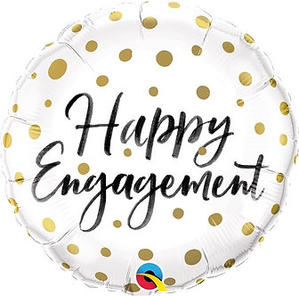 HAPPY ENGAGEMENT GOLD DOTS 18IN FOIL