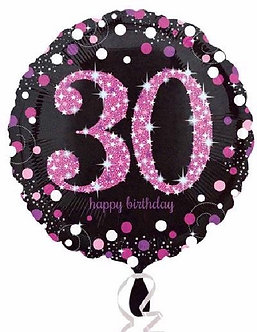 30TH PINK SPARKLES 18IN FOIL BALLOON