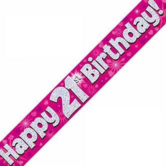 9FT 21ST BIRTHDAY PINK BANNER