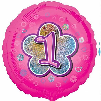 1ST BIRTHDAY PINK FLOWERS 18IN FOIL BALLOON