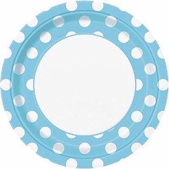 8PK 9IN POWDER BLUE DOTS PLATES