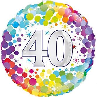 18IN COLOURFUL CONFETTI 40TH B/DAY