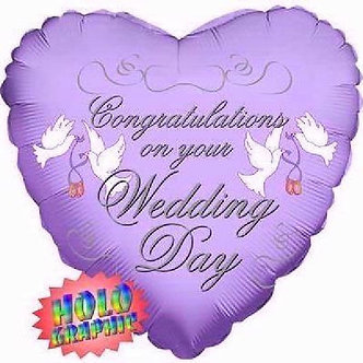 18IN LILAC WEDDING DAY FOIL BALLOON