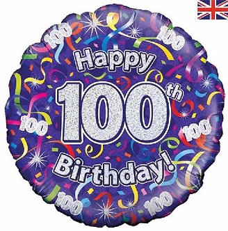 100TH B/DAY STREAMERS HOLO 18IN FOIL