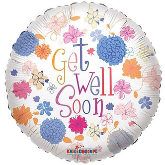 18IN GET WELL PASTEL FLOWERS FOIL