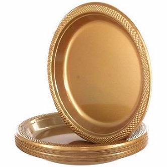 20PK GOLD 9IN PLASTIC PLATES