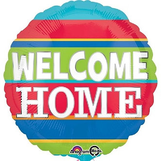 WELCOME HOME COLORFUL STRIPES 18IN FOIL