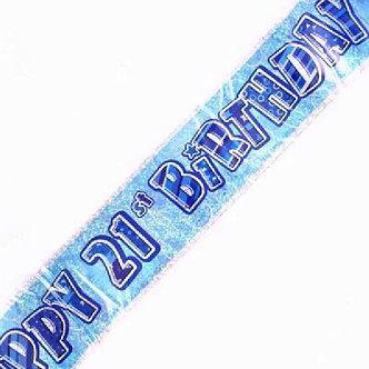 9FT BLUE GLITZ 21ST FOIL BANNER