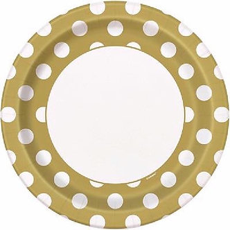 8PK 9IN GOLD DOTS PLATES