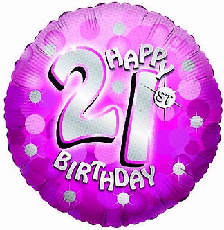 SPARKLE PINK 21ST 18IN FOIL BALLOON