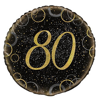 18IN GOLD PRISMATIC 80TH FOIL BALLOON