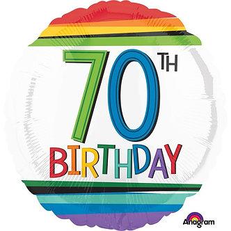 RAINBOW 70TH BIRTHDAY FOIL BALLOON