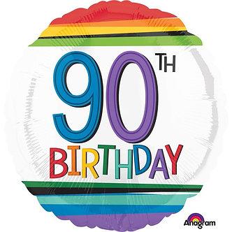 RAINBOW 90TH BIRTHDAY FOIL BALLOON