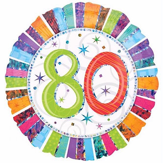 18IN RADIANT 80TH B/DAY FOIL BALLOON