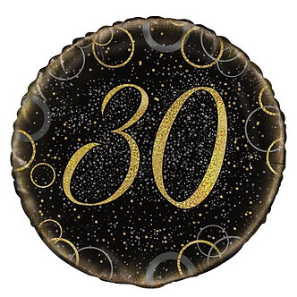 18IN GOLD PRISMATIC 30TH FOIL BALLOON