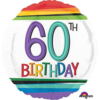 RAINBOW 60TH BIRTHDAY FOIL BALLOON