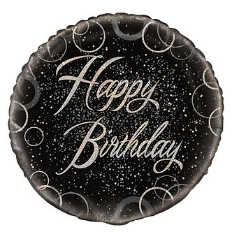 18IN BLACK PRISMATIC B/DAY FOIL BALLOON