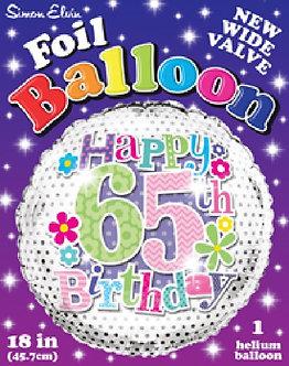 65TH FEMALE 18IN FOIL BALLOON