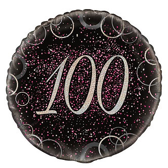 18IN PINK PRISMATIC 100TH FOIL BALLOON