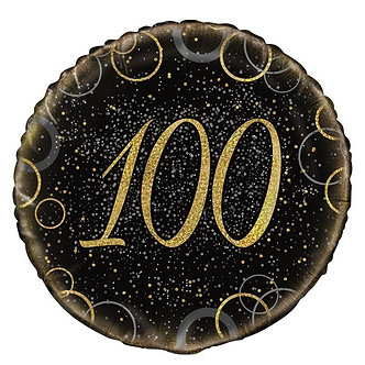 18IN GOLD PRISMATIC 100TH FOIL BALLOON