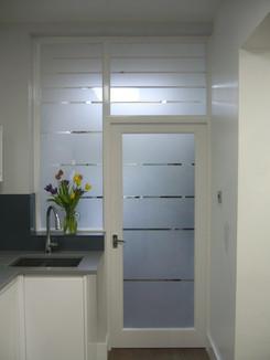 sandblasted glass bespoke door and windows