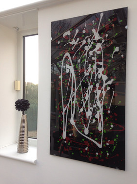 hand painted abstract art on glass panel
