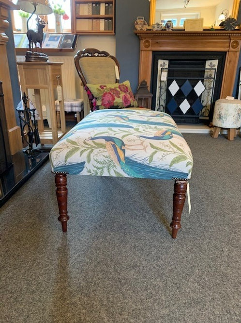 Upholstered Footstool on Antique Legs - Peacock Fabric end view