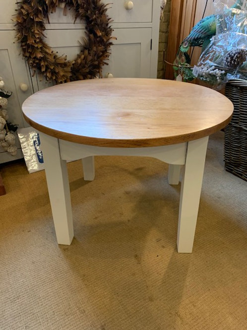 Oak Top Coffee Table with painted legs, 60cm dia.