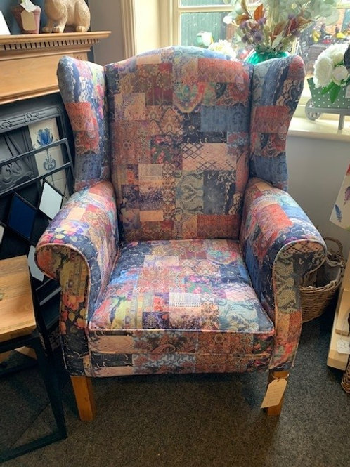 Vintage solid beech framed, re-upholstered Laura Ashley Wing Back Chair - Front