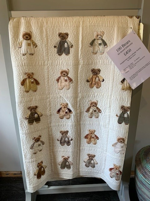 Original One-off Embroidered Throw by Helen Howe - 100 Bears
