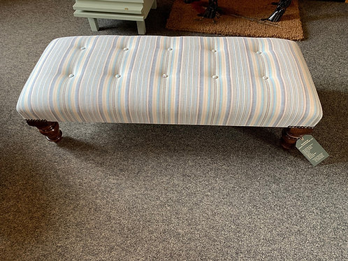 Small Handmade Footstool in Striped Fabric