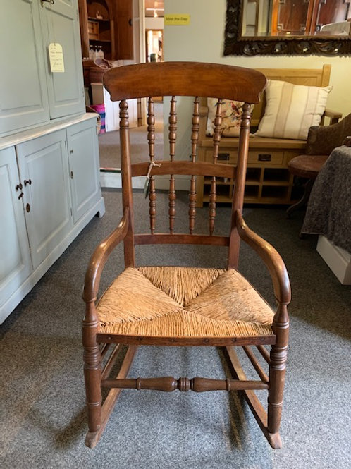 Victorian Beech Spindle Back Rocking Chair with Rush Seat