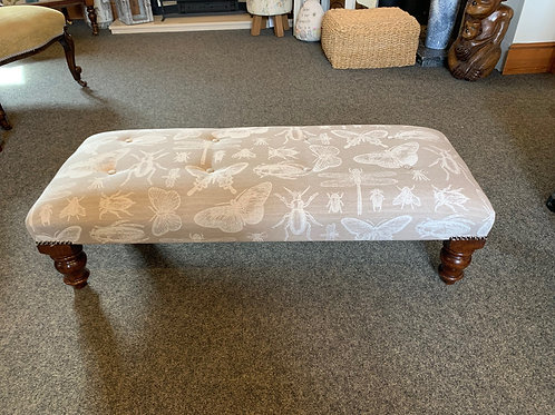 Handmade Footstool with Buttons Insect Fabric