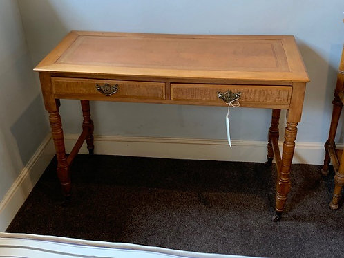Vintage Ash 2 Drawer Writing Desk with Leather Inlay on Ceramic Casters - Front View