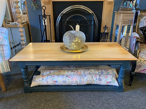 Cherry Wood Top Painted Base Coffee Table -