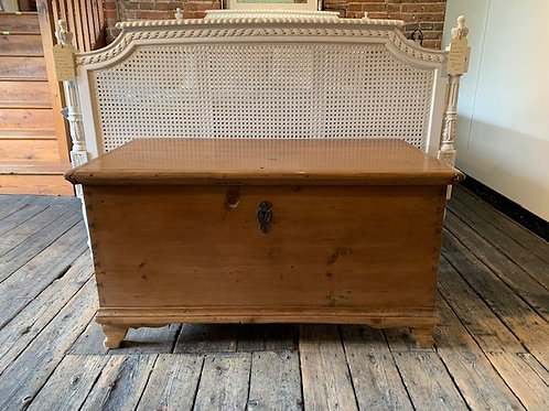Antique Pine Blanket Box on Feet - Front View