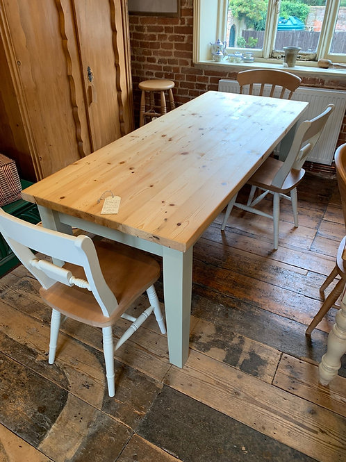 Reclaimed Pine, Scrub Top Farm House Table with Painted Legs in French Grey - Side View