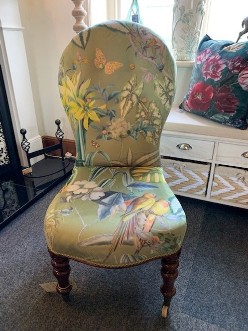 Antique Mid-Victorian Occasional Chair with Ceramic Castors - Front