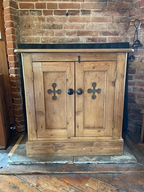 Antique Victorian Pine Gothic Style Cupboard - Front
