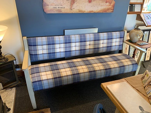 Vintage Upholstered Cream Painted and Blue Check Bench - Front View