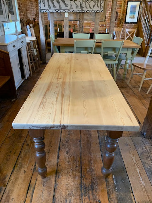 Vintage Pine Farmhouse Table - End View