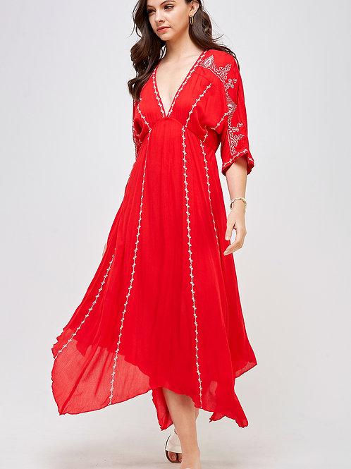 Embroidery Handkerchief Maxi Dress