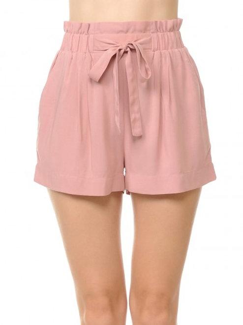 Tie front highwaist shorts