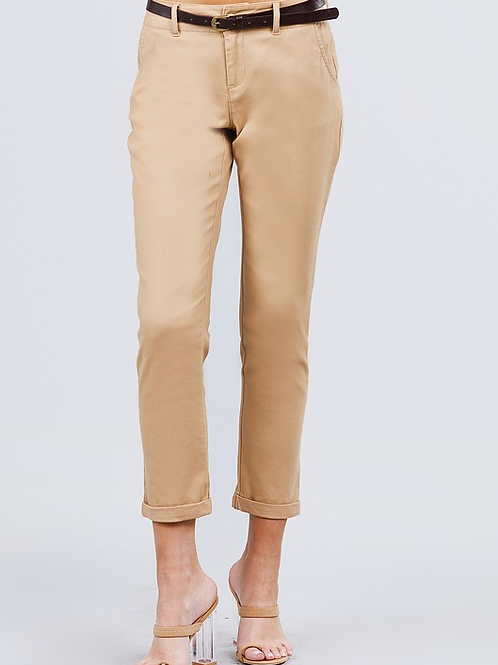 Straight Belted Crop Pants