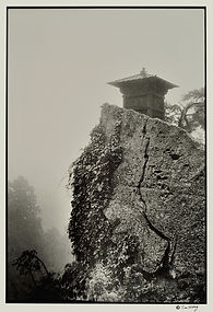 Mystic wabi sabi temple in fog