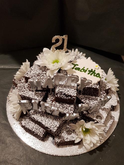 CHOCOLATE BROWNIE BIRTHDAY CAKE