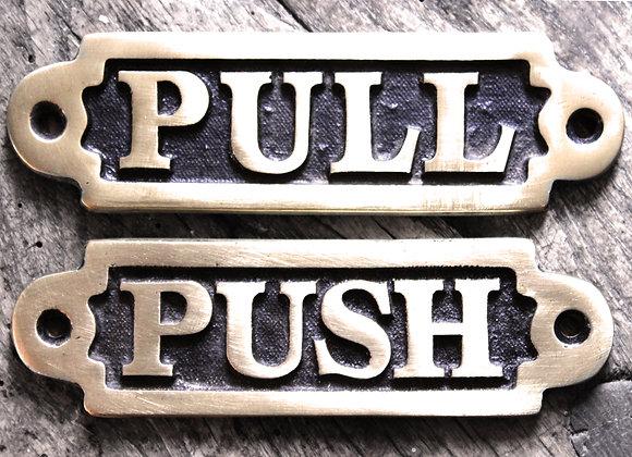 'PUSH' & 'PULL' BRASS SIGNS