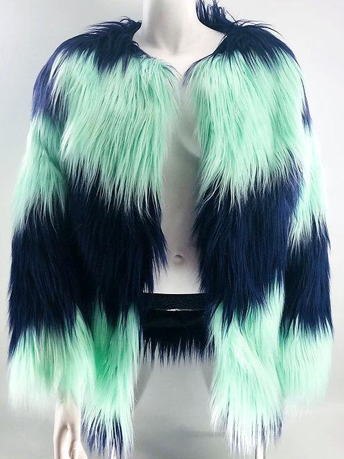 Blues Faux Fur Coat