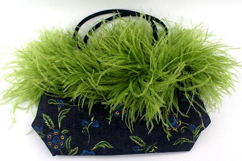 Vintage Green Denim & Ostrich feathers purse